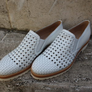 Slip on in pelle intrecciata