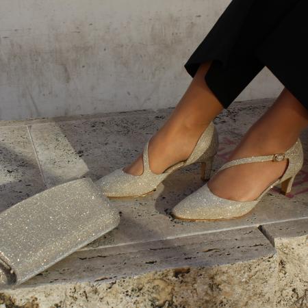 scarpa tessuto champagne oro